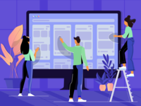 Illustration for a Blog Post about UX Designers' Portfolio team screen ux ui work web illustration dribbble uigiants