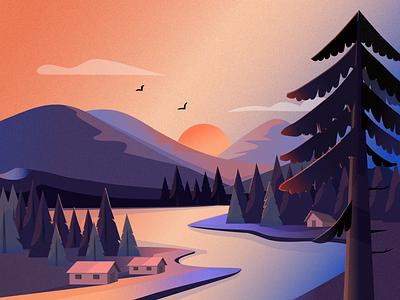 Landscape illustration ui landscape nature colors design web illustration dribbble uigiants