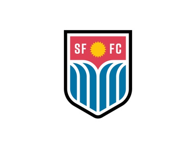 Sioux Falls FC football soccer sports team crest waterfall water sun identity badge south dakota branding vector design illustration icon logo