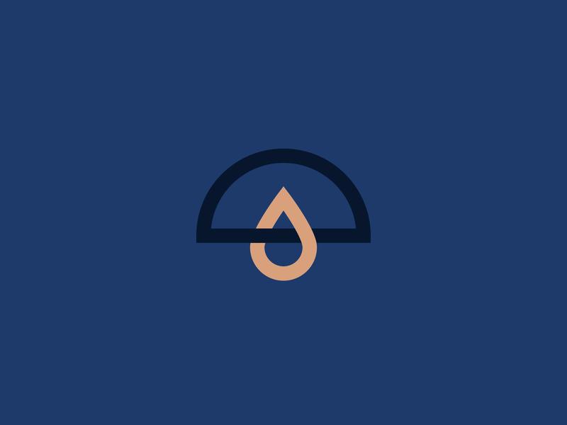 Parasol 2 liquid droplet drop canopy parasol umbrella identity branding vector design illustration icon logo
