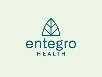 Entegro natural medicine probiotics health leaf identity branding vector design illustration icon logo