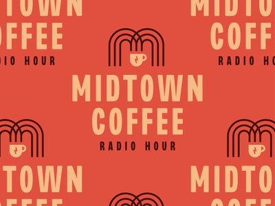 Midtown Coffee Radio Hour radio podcast mug coffee m south dakota line identity branding vector design illustration icon logo