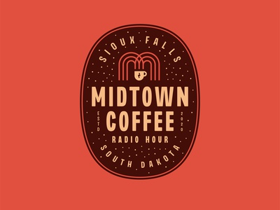 Midtown Coffee Radio Hour mug podcast radio coffee m south dakota line identity branding vector design illustration icon logo