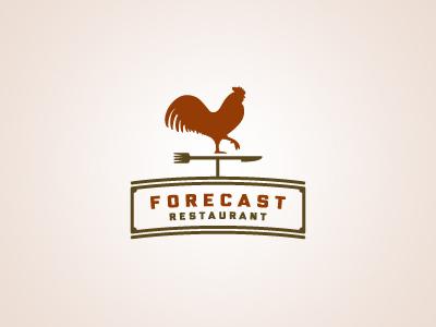 Forecast Restaurant rooster weather vane knife fork forecast restaurant logo badge
