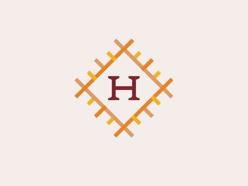 H Quilt grid thread weave quilt retirement family estate home icon logo