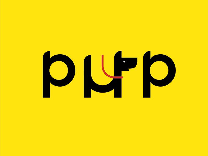 Pup animal puppet leash puppy pup illustration logo
