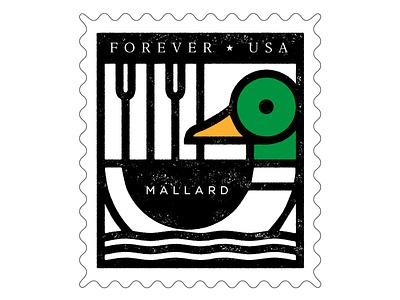 Mallard stamp mallard duck stamp vector design animal south dakota bird illustration