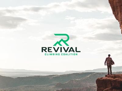 Revival Climbing r rock climbing outdoor climbing peak mountain branding vector design icon logo