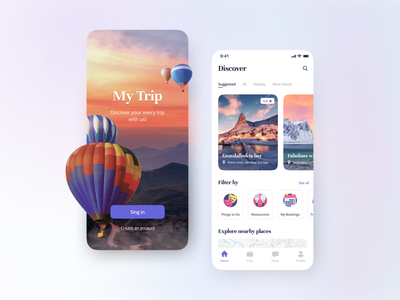 My Trip app main page trip sing in sketch after effect mobile app app mobile animation design ux ui