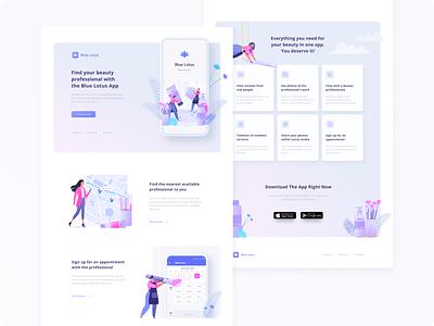 Blue Lotus App landingpage beauty service mobile app figma concept design concept website web design ux ui