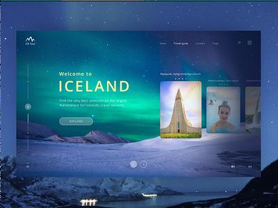 Iceland page. Travel agency website web ux ui design