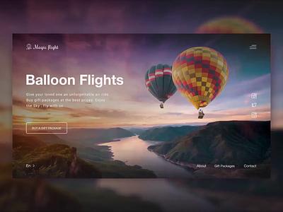 Magic flight. Hot air ballooning paralax baloon sky web designer concept design concept animation website web ux ui