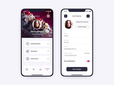 User profile for recipes app profile design profile mobile app design mobile app mobile figma prototype design ux ui recipe app app
