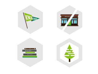 Texts.com Icon Set illustration books bookstores green brown gray hexagon