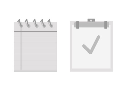 Documents! black white document notebook checkmark spiral