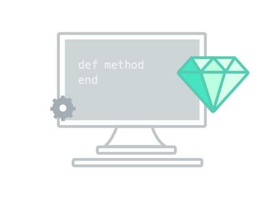 Ruby on Rails computer rails ruby gem monitor illustration sketch