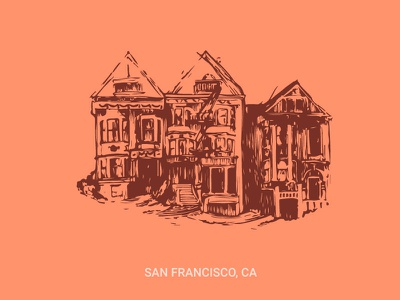 San Francisco Trio Dribbble image trace san francisco sketch illustration
