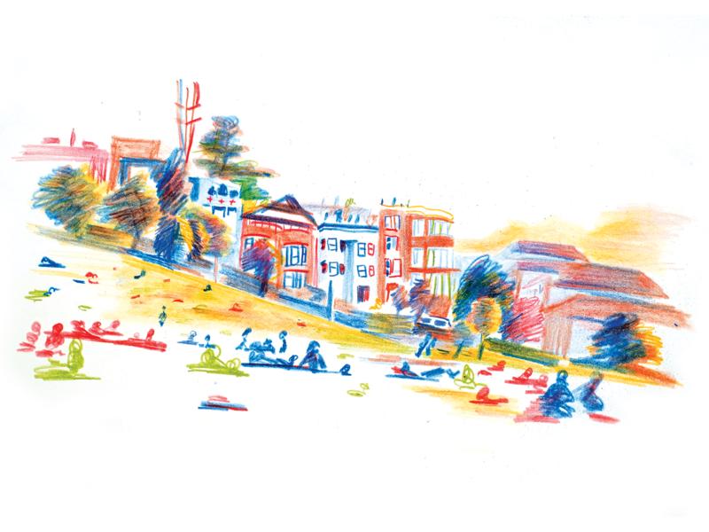 Mission Dolores Park (San Francisco, CA) illustration prints art coloredpencils