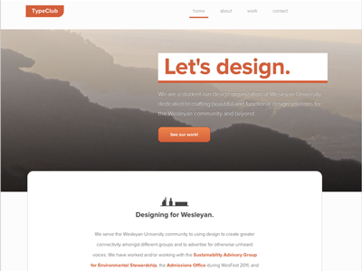 TypeClub web design web design twitter bootstrap photoshop orange