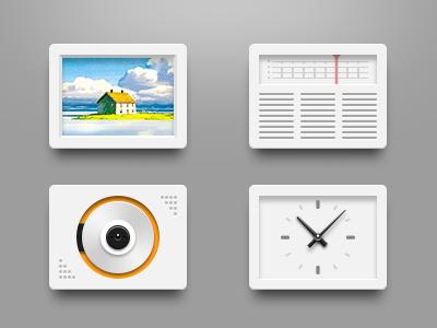 White icons time cd player orange scene album white icon theme photo music radio clock braun