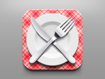 Tableware icon check metal tablecloth ios tableware icon app knife fork plate
