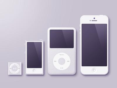 Apples (PSD) light grey ipod classic apple device nano iphone apple icon ipod shuffle psd