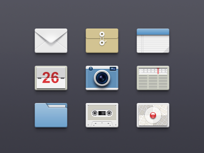64×64px icons recorder icon email folder note calendar camera radio map braun