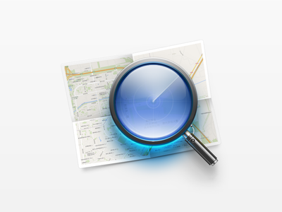 Find My Phone metal paper reflection glass blue technology navigation scanning map magnifier icon search