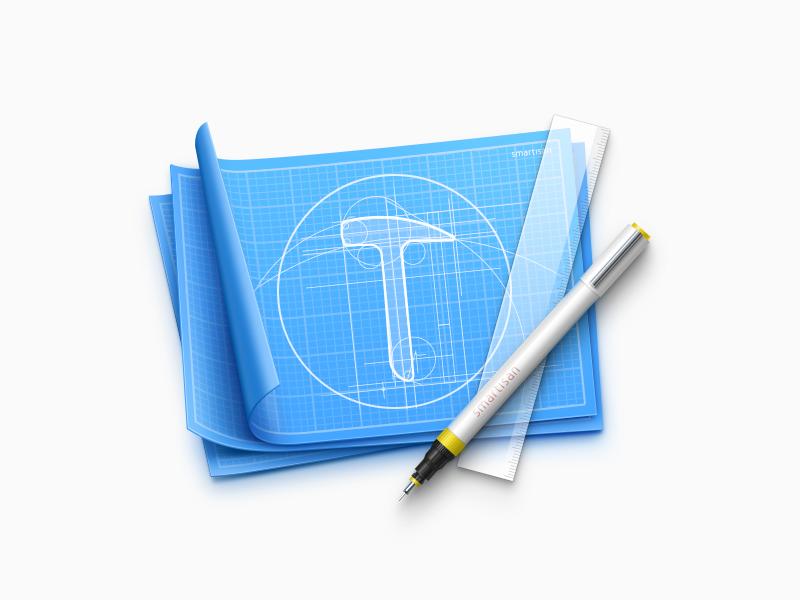 Smartisan Design paper transparent needle pen icon smartisan logo ruler blueprint