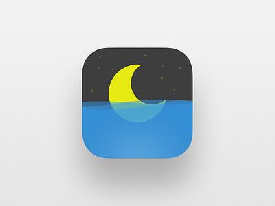 Tonight waves yellow blue app icon moon sea night star