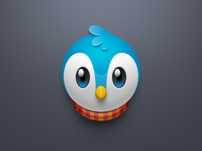 Blue bird and red scarf icon android reflection eyes woolen twitter bird icon scarf blue