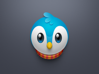 Blue bird and red scarf icon
