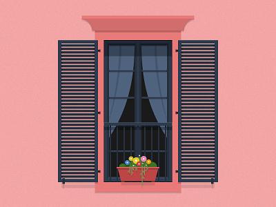 Window ui curtain flower red window