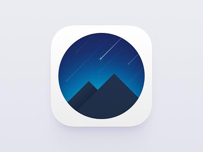 Mountains and Sky icon blue night stars meteor ui icon sky mountains