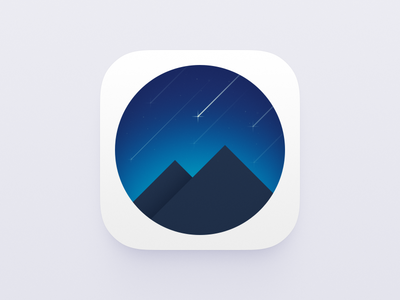 Mountains and Sky icon blue night stars meteor ui icon sky mountains