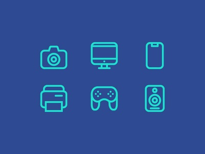 Icon Electronic icons electronic outline iphone x speaker joystick printer camera imac iphone apple artwork illustration icon vector logo design