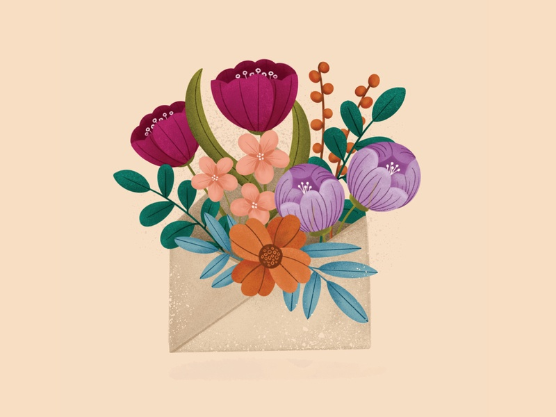 Spring Mail fresh bright procreate texture flowers illustration flowers spring