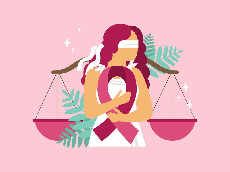 Lady Justice Breast Cancer flat illustration pink ribbon breast cancer breast scales of justice lady justice illustration