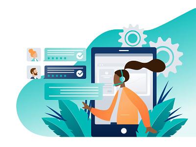 Technical Support Graphic ux vector call center web platform communication tech support tech flat illustration illustration