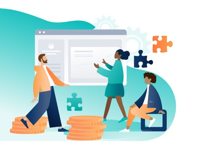 Supported by Community Graphic graphic data team support team tech support flat illustration illustration management community
