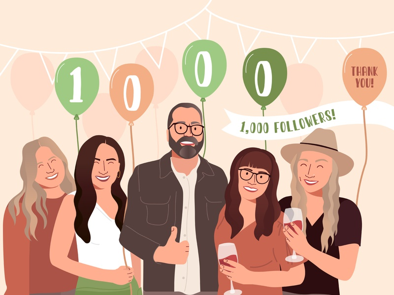 1,000 Followers vector flat illustration flat thankyou team portrait design team celebrate follower 1000 followers