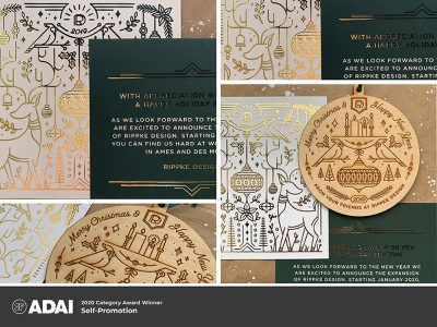 ADAI 2020 Category Award Winner - Self Promotion ornament square gold green line illustration christmas card christmas gold foil lasercut laser etched laser ames branding iowa illustration