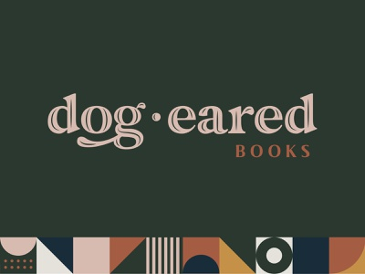 Dog Eared Books logo vintage logo friendly ames iowa branding serif geometric pattern bookstore books
