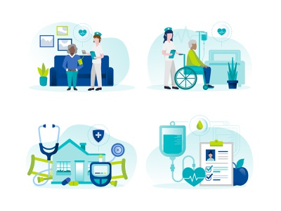 Web Illustrations hospital vector illustration caretaker nurse home medical equipment infusion therapy infusion telehealth healthcare home health hospice