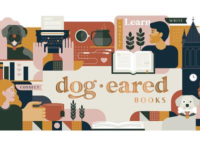 Dogeared Books mural people 2d flat diversity community bookstore books dog mural ames branding iowa illustration
