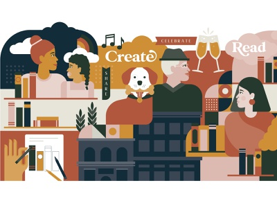 Dogeared Books Mural cheers read drawing people flat pattern bookstore books dog 2d community diversity branding ames iowa illustration mural