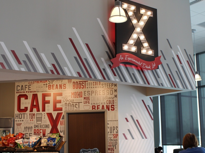 Cafe X Environmental Graphics wall art vinyl angles cafe branding cafe coffee environmental design environment art wall graphics mural illustration
