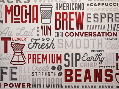 Cafe X Environmental Graphics iowa typography coffee shop cafe environmental graphics environmental design branding illustration