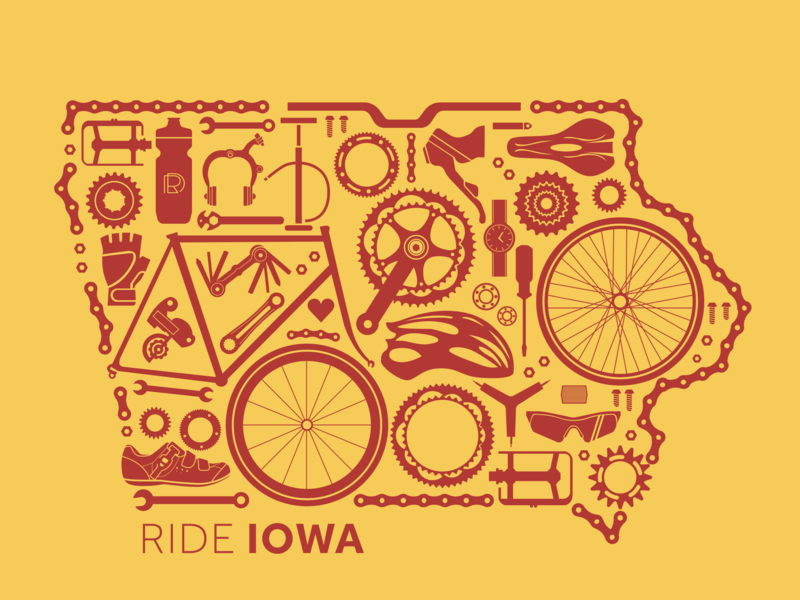 Ride Iowa Print poster redesign print and pattern ragbrai biking bike ames iowa illustration print design