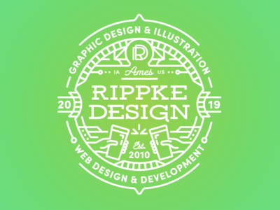 Rippke Design Pint Glass 2019 iowa ames beer glass badge logo badge services illustration line art personal branding graphic design studio pint glass